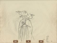 """Original production drawing of Maleficent and Diablo from """"Sleeping Beauty,"""" 1959; Graphite on peg hole paper; Numbered """"40"""" and animation ladder lower right ; Size - Maleficent & Diablo 8 x 5 1/4"""", Sheet 15 1/2 x 12 1/2"""", Frame 27 3/4 x 29 1/2""""; Framed with a gold wood frame, acid free linen mat, gold wood fillet and conservation clear glass."""