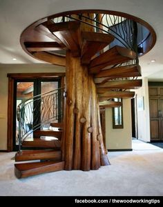 unique-wooden-spiral-staircase-design : Home Remodeling Design Ideas Stair Gallery, Wooden Stairs, Concrete Stairs, Staircase Design, Wood Staircase, Spiral Staircases, Stair Design, Slide Staircase, House Staircase