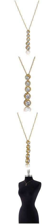 Gold Plated Sterling Silver CZ 5 Stone Fashion Necklace