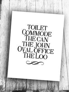 toilet word art for bathroom decor | gift ideas