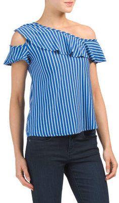 Juniors Stripe Top Stripe Top, Tj Maxx, One Shoulder, Stylish, Blouse, Fashion Design, Shopping, Tops, Women