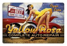 Yellow Rose Auto Repair Pinup Girl metal sign, vintage style retro gas oil garage art wall decor - Pin-Up - Auto Pin Up Girl Vintage, Vintage Pins, Retro Vintage, Vintage Style, Giant Vintage, Vintage Yellow, Pinup Art, Grease Monkey Garage, Complete Auto Repair
