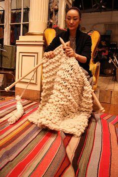 size 50 needles- broom sticks? roving or triple strand super bulky?