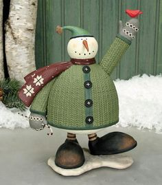 Snowman Holding Cardinal and Candy Cane Figurine : The Official Williraye Studio Store, Folk Art Collectibles and Figurines