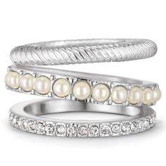 Genuine silver-plated stackable rings embellished with the look of pearls and rhinestones. Regularly $16.99, buy Avon Jewelry online at http://eseagren.avonrepresentative.com