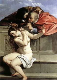 Susanna and the Elders, painted by Artemisia Gentileschi when she was 17 in 1610. Artemisia was trained in her father's workshop, where she was raped by her painting teacher. In this painting, Susanna is shown as repulsed by the lecherous attentions of the elders, while male artists depicted her as coyly flirting with them. Artemisia's one of the artists featured in Amanda Vickery's TV series, The Story of Women and Art, from 16th May 2014.