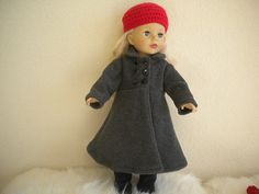 Charcoal Grey Coat With Red Crochet Hat And by MermaidBaby on Etsy