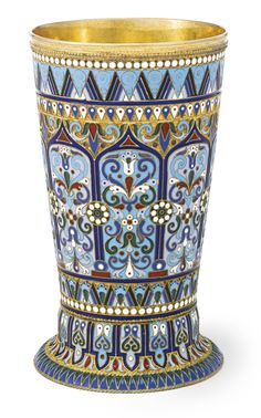 A Russian Gilded Silver and Enamel Beaker, Ovchinnikov, Moscow, 1895 | Lot | Sotheby's