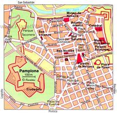 La mapa de bonito ciudad de Pamplona