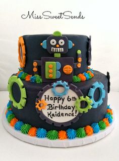 Robot Cake  by MissSweetSends Toppers available on Etsy.