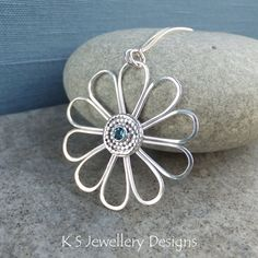 London Blue Topaz Daisy - Sterling Silver Wire Flower Pendant - Handmade Gemstone Metalwork Wirework Jewelry - Blossom Petals Floral
