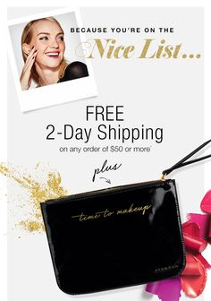 FREE 2 day shipping and Cosmetic Pouch with $50 order and code 2DAYSHIP at https://mmcquain.avonrepresentative.com/ through 12/20/16!