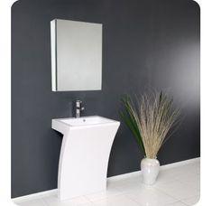 Fresca Quadro Pedestal Sink - Modern Bathroom Vanity Set modern bathroom vanities and sink consoles Single Bathroom Vanity, Modern Bathroom, Bathroom Decor, Vanity, Modern Pedestal Sink, Vanity Sink, Modern Bathroom Vanity, Shabby Chic Bathroom, Bathroom Design