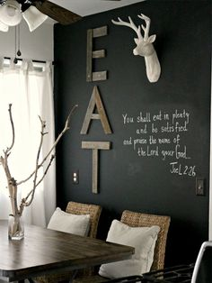 Black walls - 48 living ideas for modern interior design Black walls and creatively design for rustic living room design and modern kitchen decor Black Painted Walls, Black Walls, Chalk Wall, Chalkboard Walls, Chalk Board, Chalkboard Ideas, Black Chalkboard, Wall Wood, Chalkboard Wall Kitchen