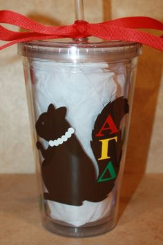 Squirrels...and pearls...for all you Alpha Gamma Delta Girls!    This super cute 16 oz. tumbler is designed using premium vinyl for all letters,