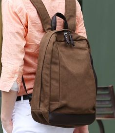 Brown canvas backpack/man backpack/woman by PrettyBag on Etsy, $41.00