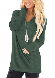 Women's Long Sleeve Deep V Neck Shirts Solid Tunic Tops – Sampeel Short Sleeve Blouse, Long Sleeve Tops, Casual T Shirt Dress, Plus Size Tops, Casual Tops, Sleeve Styles, V Neck T Shirt, Tunic Tops, Sweater