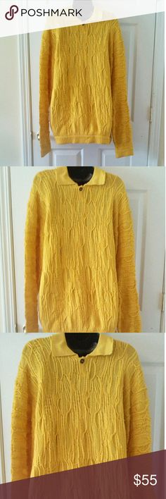 "Men's Coogi yellow sweater XL 44"" armpit to armpit COOGI Sweaters"