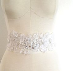 Vintage Lace Bridal Sash  Ivory  Katie we could make something like this