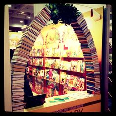 A beautiful garland arch of books is our pick of the day from the London Book Fair 2012. A good idea if you are planning a bookish wedding.