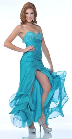 Long Chiffon Fuchsia Homecoming Dress Strapless Sexy Open Slit Beads (2 Colors Available) $229.99 Strapless Formal Dresses