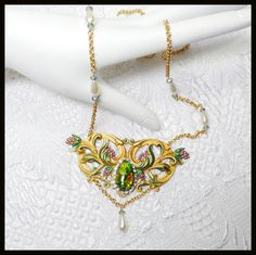 #441--Faux Opal on gold plated brass, hand-painted, glass pearls, Toggle clasp  By Cherie T. Barnes