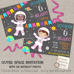 Girls Outer Space Birthday Invitations, Girl Astronaut Invites, Cosmic Birthday Party invites for girls chalkboard personalized, you print by songinmyheart on Etsy https://www.etsy.com/listing/499741373/girls-outer-space-birthday-invitations