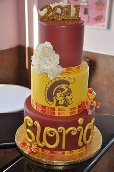 """Sweet and simple USC Graduation cake with roses for """"Gloria"""" by thecakemamas, via Flickr"""