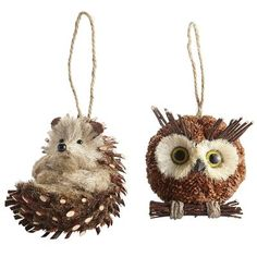 Natural Owl & Porcupine Ornaments from Pier 1 for our woodland Christmas tree