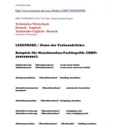 At a Very Low Price: Dictionary Mechanical Engineering German English (Technisches Woerterbuch sehr billig)