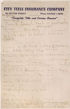 Well this was a great find! Marilyn Monroe's Handwritten Turkey-and-Stuffing Recipe. What do you think?