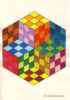 Würfel in – Art Sketches 3d Art Drawing, Geometric Drawing, Cool Art Drawings, Art Drawings Sketches, Geometric Art, Easy Drawings, Geometric Patterns, Illusion Kunst, Illusion Art