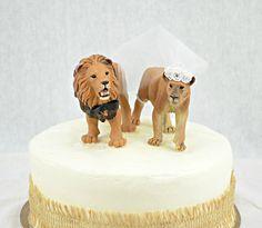 Lion Wedding Cake Topper, Jungle Wedding Cake Topper, Lioness Wedding Cake Topper, Bride Groom Cake Topper, Jungle Grooms Cake Topper, Party by sherisewsweet on Etsy https://www.etsy.com/sg-en/listing/230555680/lion-wedding-cake-topper-jungle-wedding