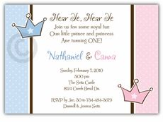 Prince & Princess Girl-Boy Twins Birthday Invitation - Custom Twins Birthday Invitations from the leader in Twins & Multiples stationery products - www.amyscardcreations.com - Cards as low as $1.15 - Thank you for shopping with me and supporting small business!
