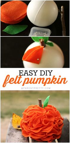 Felt Pumpkin Craft - This super-easy DIY felt pumpkin idea is so cute and simple to make. It makes such an adorable addition to your fall decor! Pin it now and check out the tutorial later!