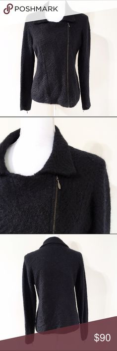 "Eileen Fisher Black Mohair Sweater Description: Beautiful women's jacket style sweater with the warmth, comfort and elegance of mohair.    Material: 38% mohair, 35% cotton, 24% nylon, 3% wool  Size information: Women's Small  Measurements: Bust: 36.5"", Waist 29""; Length: 24"".   Condition: Good pre-owned condition. Normal wear. Eileen Fisher Sweaters"