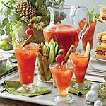 New Years Brunch?  You got this. Bloody Mary Bar   MyRecipes.com    8 cups tomato juice  2 C vodka 1/3 C prepared horseradish  1/3 C Worcestershire sauce 3/4 C fresh lime juice (about 6 limes)  1 TBS hot sauce  2 TSP sea salt  1 TSP freshly ground black pepper  Ice Assorted vegetables  Prep: Stir together tomato juice, vodka, horseradish, Worcestershire sauce, lime juice, hot sauce, sea salt, and pepper. Serve over ice with assorted vegetables. #BloodyMary #Brunch #CocktailRecipes #Vodka