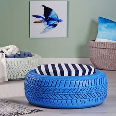Put old tyres to good use as seating for a home. With a few tools, supplies and some DIY savvy you can transform disused tyres into extraordinary high-profile seating.