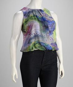 Take a look at this Lavender & Blue Plus-Size Sleeveless Top by Madison Paige on #zulily today!