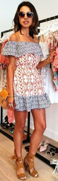 #summer #revolve #clothing #outfits | Off The Shoulder Boho Dress