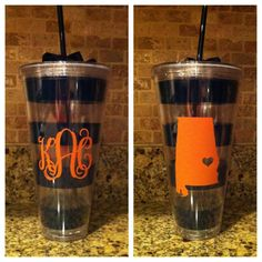 Giant Auburn Striped Cup  Monogrammed by AbigailLeeHome on Etsy, $20.00