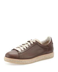 BRUNELLO CUCINELLI MEN'S LEATHER SNEAKER ESPADRILLE, BROWN. #brunellocucinelli #shoes #