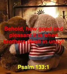 Behold, how good and pleasant it is when brothers dwell in unity!Psalm 133:1