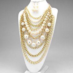 White & Gold Multi Layered Elegant Bib Statement Necklace
