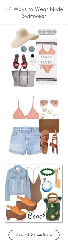 """""""14 Ways to Wear Nude Swimwear"""" by polyvore-editorial ❤ liked on Polyvore featuring waystowear, nudeswimwear, Chanel, Eric Javits, Bobbi Brown Cosmetics, Melissa Odabash, Ray-Ban, Beats by Dr. Dre, GRLFRND and Mulberry"""