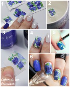 Tutorial - Blue roses water decal