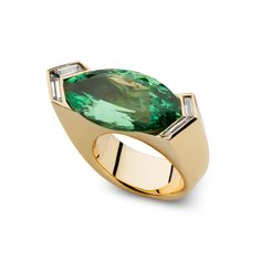Vhernier, gold, diamonds and emerald (or other chrome gemstone) ring