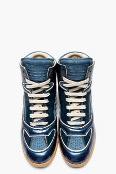 MAISON MARTIN MARGIELA Blue Leather Panelled High-Top Sneakers