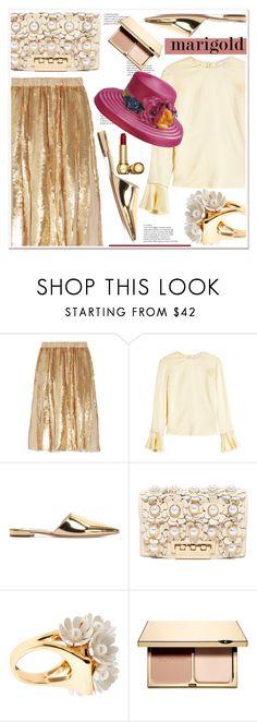 """Stay Golden: Dressing in Marigold"" by spenderellastyle ❤ liked on Polyvore featuring TIBI, Roksanda, Prada, ZAC Zac Posen, Lele Sadoughi, Clarins and marigold"