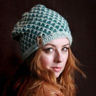 Nº315 White and Grey Crochet Slouchy Beanie by MilaSova on Etsy